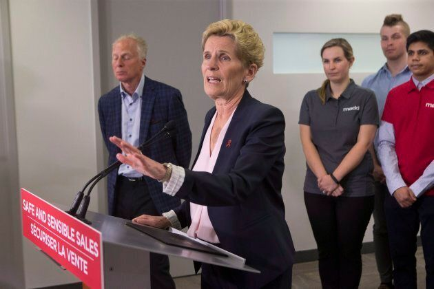 Ontario Liberal Leader Kathleen Wynne speaks at the Mothers Against Drunk Driving office in Toronto o...