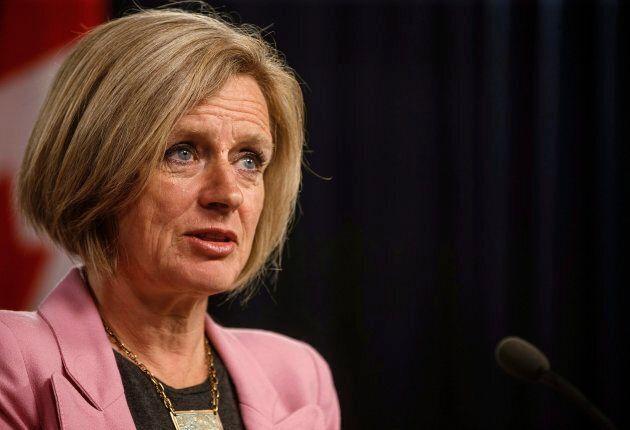 Alberta Premier Rachel Notley speaks to reporters in Edmonton on May 16,
