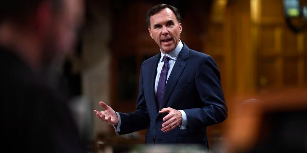 Finance Minister Bill Morneau speaks during a Committee of the Whole in the House of Commons on Parliament...