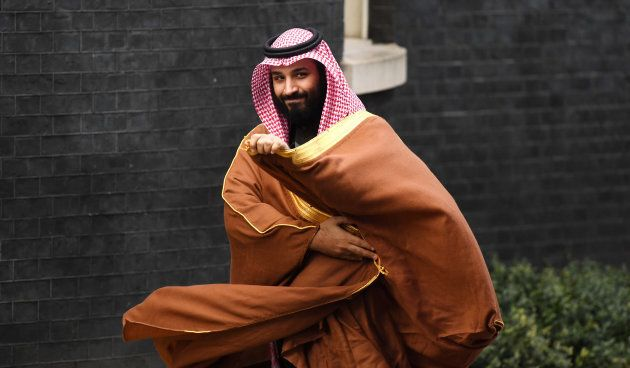 Saudi Arabia's crown prince Mohammad bin Salman arrives in 10 Downing Street on the first day of his...