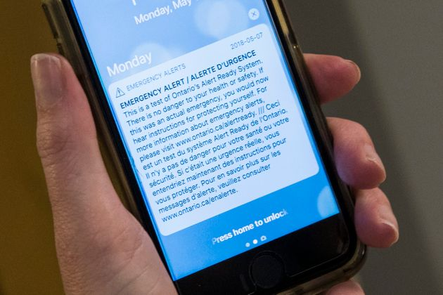Emergency mobile test alert pictured on a cellphone in Kingston, Ont. on Monday, May 14,