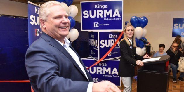 Ontario PC Leader Doug Ford is shown with candidate Kinga Sirma in a photo from Ford's Twitter