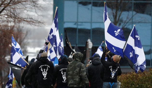 Protesters from far-right groups Atalante and Soldiers of Odin leave protests by groups La Meute and...