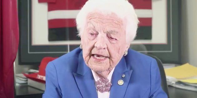 Former Mississauga mayor Hazel McCallion is shown in a video released by Ontario Progressive Conservatives...