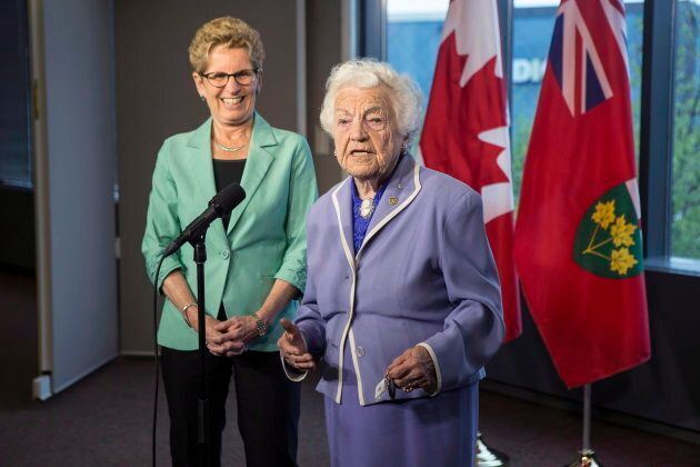 Ontario Premier and Liberal Leader Kathleen Wynne and former Mississauga Mayor Hazel McCallion address...