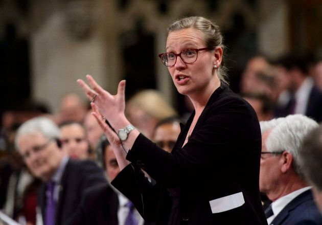 Democratic Institutions Minister Karina Gould stands during question period in the House of Commons on...