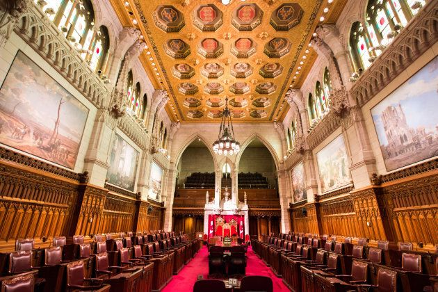 The Senate Chamber within Canada's Parliament Building.