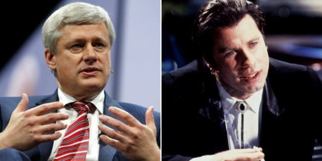 Former Canadian Prime Minister Stephen Harper at the American Israel Public Affairs Committee policy conference in Washington, March 26, 2017; Actor John Travolta in