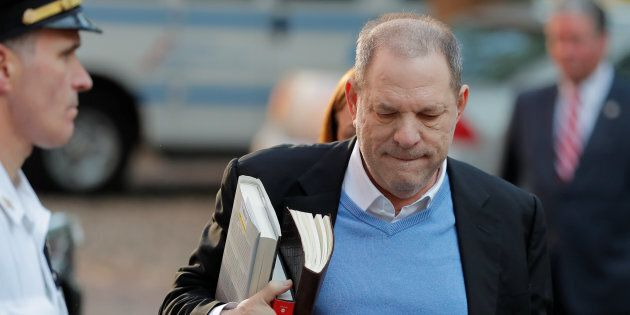 Film producer Harvey Weinstein arrives at the 1st Precinct in Manhattan in New York May, 25