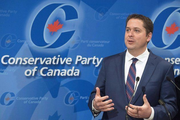 Conservative Party Leader Andrew Scheer speaks to reporters during a meeting of the General Council of...