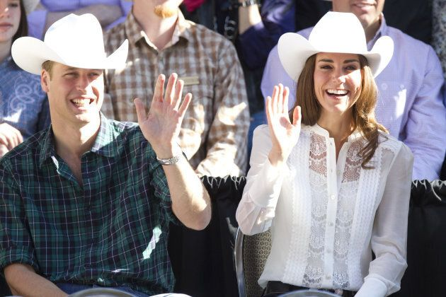 The Duke and Duchess of Cambridge watch the Calgary Stampede Parade in