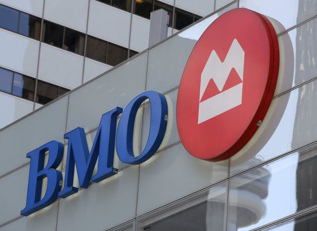 The logo of the Bank of Montreal (BMO) is seen on their flagship location on Bay Street in Toronto, March...