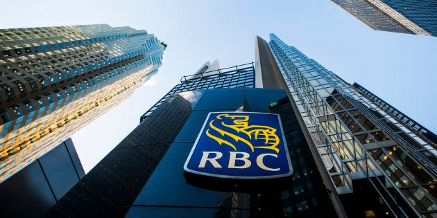 A Royal Bank of Canada (RBC) logo is seen on Bay Street in the heart of the financial district in Toronto,...
