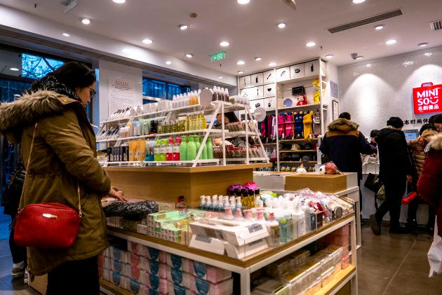 Shoppers at a Miniso location in Beijing, China, Feb. 2,