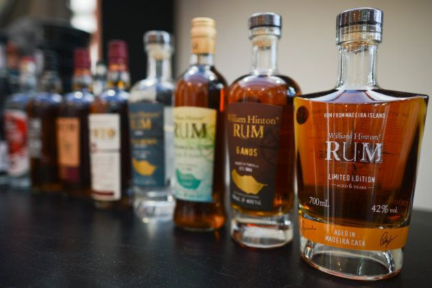 Rum on display in Funchal, Madeira Island, Portugal on April 21,