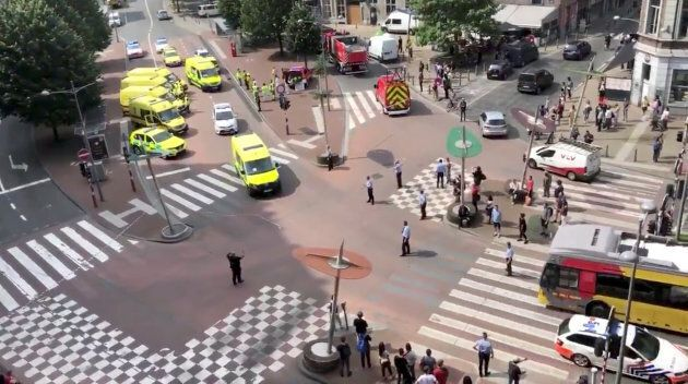 Emergency responders are seen following a shooting in Liege, Belgium, May 29, 2018 in this picture grab...