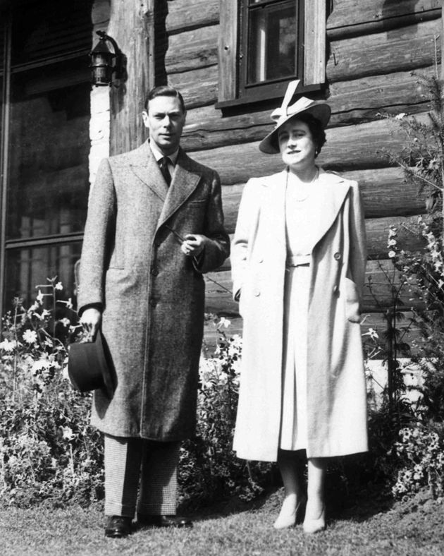Britain's King George VI and his wife Queen Elizabeth stand outside the Jasper Park Lodge, Alberta, May...