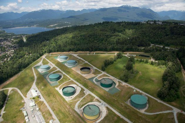 A aerial view of Kinder Morgan's Trans Mountain tank farm is pictured in Burnaby, B.C., is shown on May...