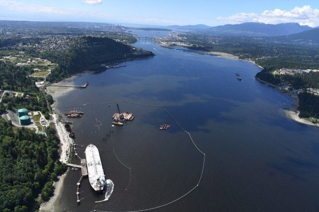 A aerial view of Kinder Morgan's Trans Mountain marine terminal, in Burnaby, B.C., is shown on May 29,