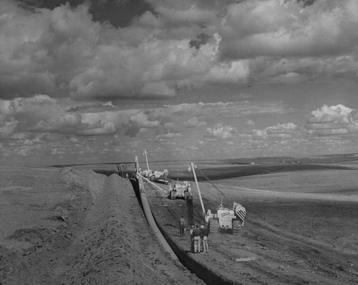 A photo from 1957 showing the construction of the TransCanada pipeline.