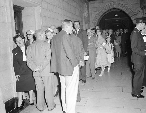 Crowds line up to watch pipeline debates in the House of Commons in June 1956.