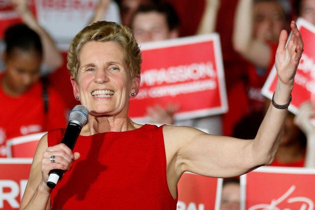 Premier Kathleen Wynne speaks during a campaign rally in Ottawa on May 9,