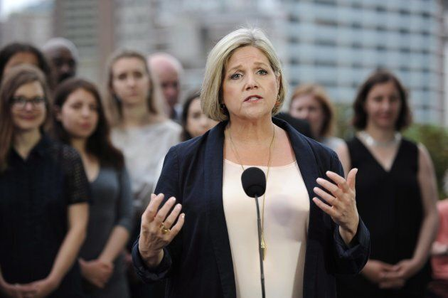 Ontario NDP leader Andrea Horwath speaks at a press conference in Toronto on