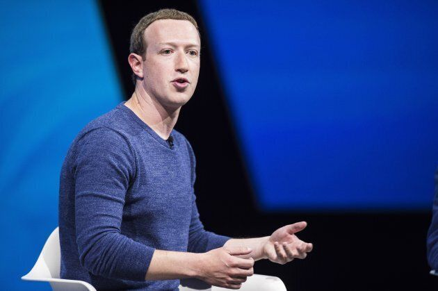 Facebook's CEO Mark Zuckerberg gestures and delivers his speech during the VivaTech (Viva Technology)...