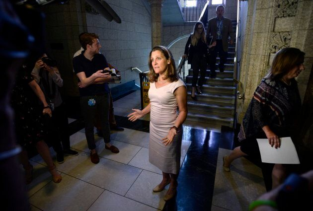 Minister of Foreign Affairs Chrystia Freeland speaks to reporters as she arrives for Question Period...