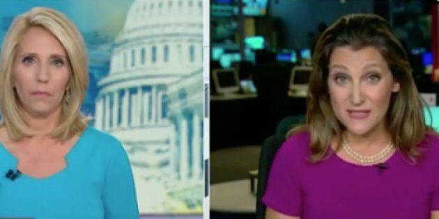 Global Affairs Minister Chrystia Freeland, right, appeared on CNN's