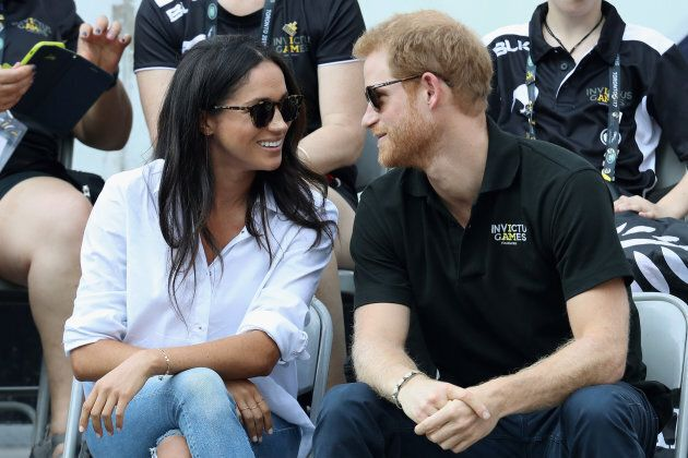 Prince Harry and Meghan Markle attend a Wheelchair Tennis match during the 2017 Invictus Games in Toronto.