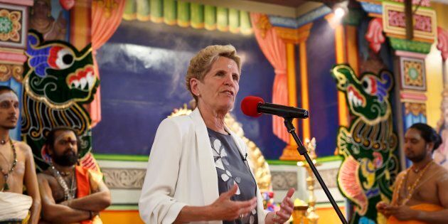 Ontario Liberal party leader Kathleen Wynne speaks during a campaign stop at the Sri Ayyappan Hindu Temple...