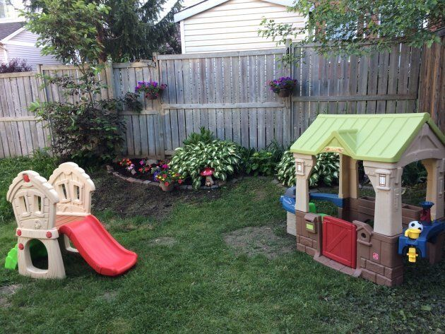 The author's backyard, which barely looks like a children's park at all.
