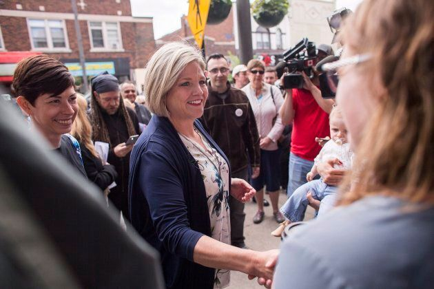 Ontario NDP leader Andrea Horwath greets supporters during a campaign stop at Blackwater Coffee Co. in Sarnia, Ont. on June 4, 2018.