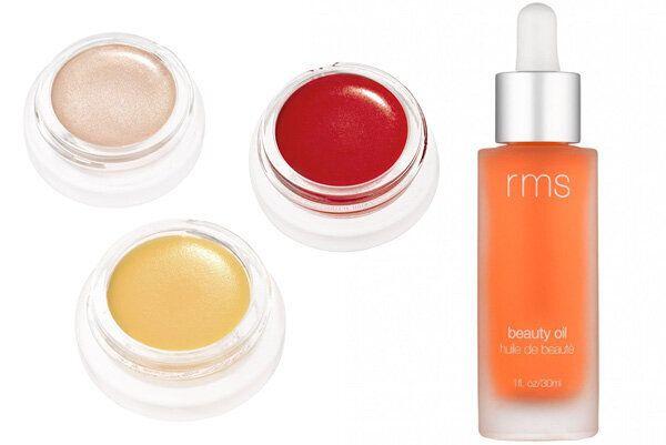 RMS Beauty Magic Luminizer, $47.50, Lip 2 Cheek in Beloved, $45, Lip & Skin Balm, $31, Beauty Oil, $98,