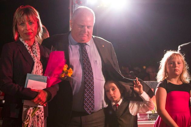 Rob Ford stands with his wife Renata and children Stephanie and Doug after addressing the crowd at Ford...