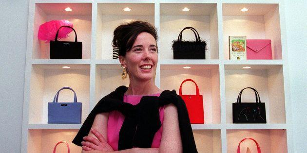 Designer Kate Spade poses for a portrait in her handbag store in Boston on June 25,