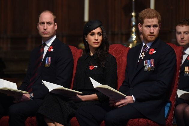 Prince William, Meghan Markle and Prince Harry attend an Anzac Day service at Westminster Abbey on April...
