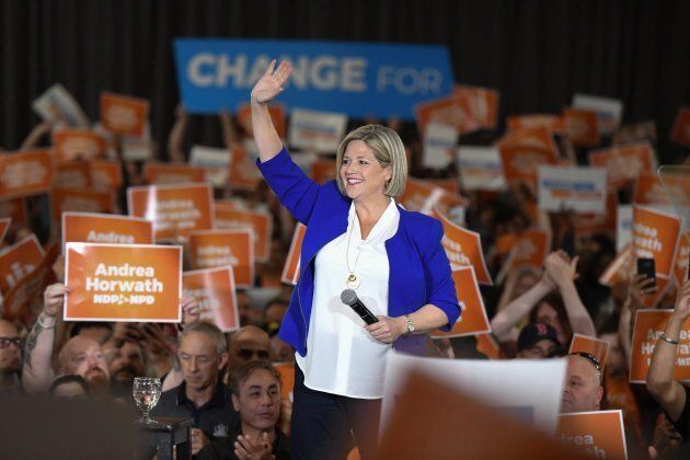 Provincial NDP leader Andrea Horwath waves to supporters at an NDP rally in Toronto, Ont. on June 3,
