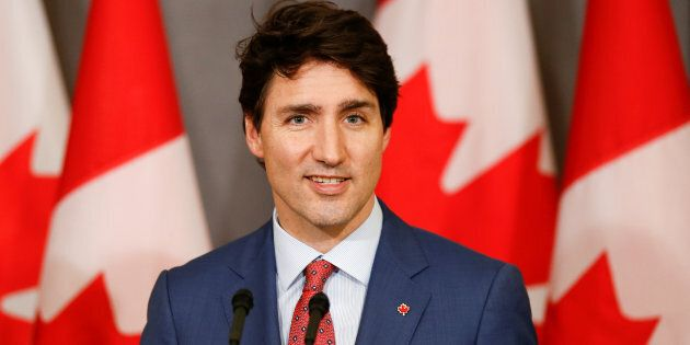 Canada's Prime Minister Justin Trudeau attends a news conference at Canada's Embassy in London, U.K....