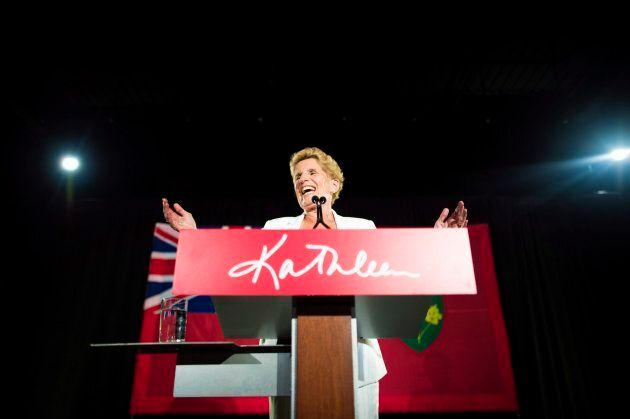 Former Ontario Premier Kathleen Wynne acknowledges her supporters following the election results in Toronto...