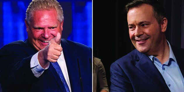 Incoming Ontario premier Doug Ford and Alberta's United Conservative Party Leader Jason