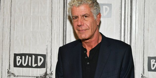 Author/TV personality Anthony Bourdain visits the Build Studio on Oct. 30, 2017 in New York