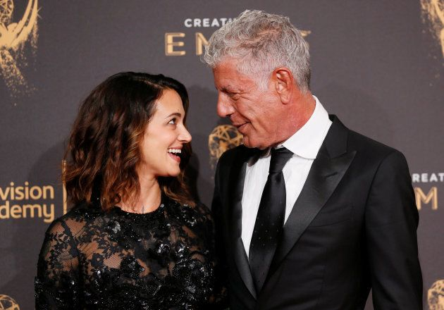 Chef Anthony Bourdain and actor Asia Argento at the 2017 Creative Arts Emmy Awards in Los Angeles, Calif....