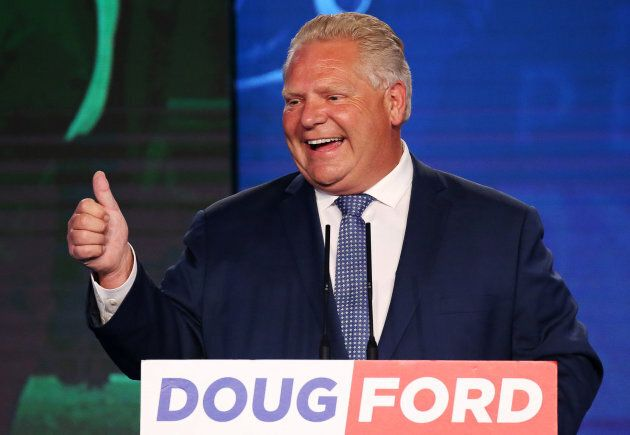 Progressive Conservative leader Doug Ford during his election night party in Toronto following the provincial election on June 7, 2018.
