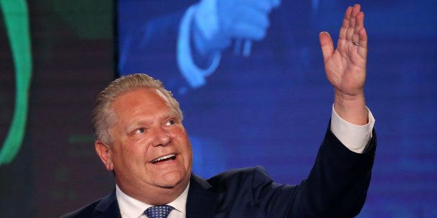 Progressive Conservative leader Doug Ford is photographed during his election night party following the...