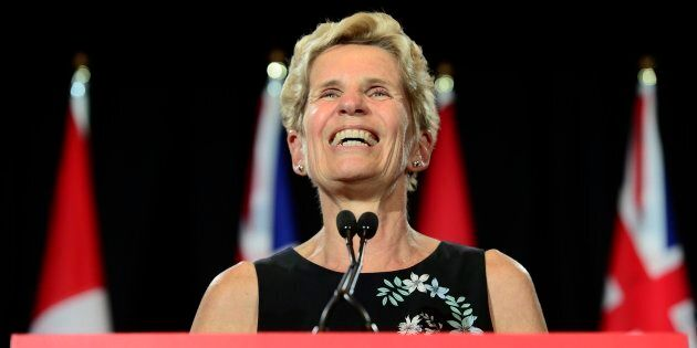 Outgoing Ontario Premier Kathleen Wynne speaks during a press conference at the Ontario Legislature at...