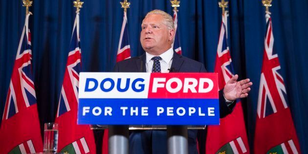 Ontario premier-elect Doug Ford speaks to the media after winning the Ontario Provincial election in Toronto, on June 8, 2018.