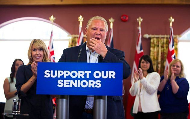 Ontario PC Leader Doug Ford speaks to residents during a campaign stop at Portal Village Retirement Home...