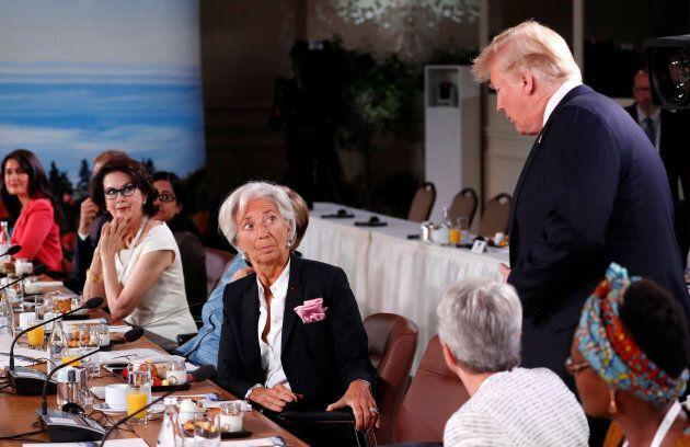 U.S. President Donald Trump arrives as Christine Lagarde, managing director of the International Monetary...